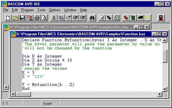 Screenshot vom BASCOM-AVR BASIC Compiler