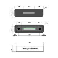 Abmessungen und Einbaumaße für die RIBU Elektronik MicroSd Einbaubuchse