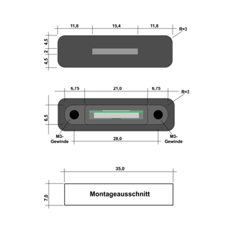 Abmessungen der MicroSD-Einbaubuchse und des Frontplattenausschnittes